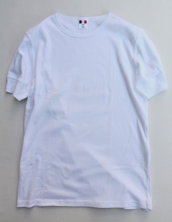 Bandol 1X1 Rib Short Sleeve Military Crew WHITE