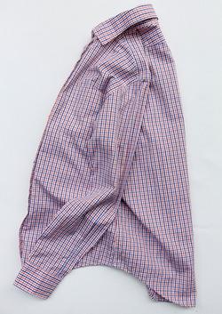 Harriss Wide Short Collar Plaid Shirt ORANGE X NAVY (5)