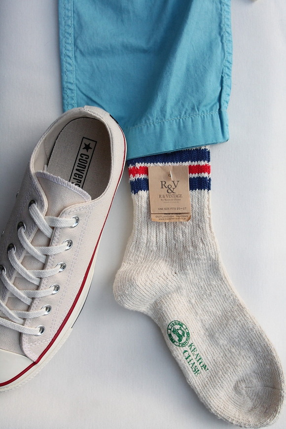 R&Vintage Nep 3 Line Socks WHITE