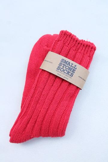 SMALL STONE Socks Cotton Big Rib Socks RED (3)