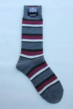 HALISON Doralon Multi Border Socks GREY (2)