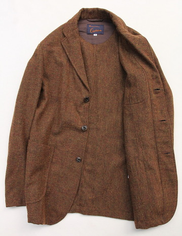 CANDIDUM Tweed 3 Button Sports Jacket BROWN