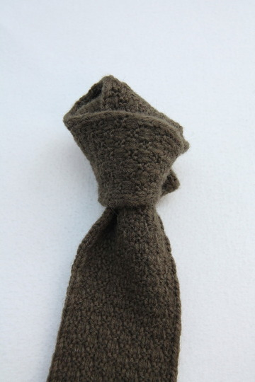 MADE IN FRANCE Wool Knit Tie OLIVE (3)