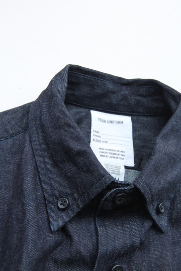 Your Uniform 6oz Denime BD Shirt Elbow Patch INDIGO (5)