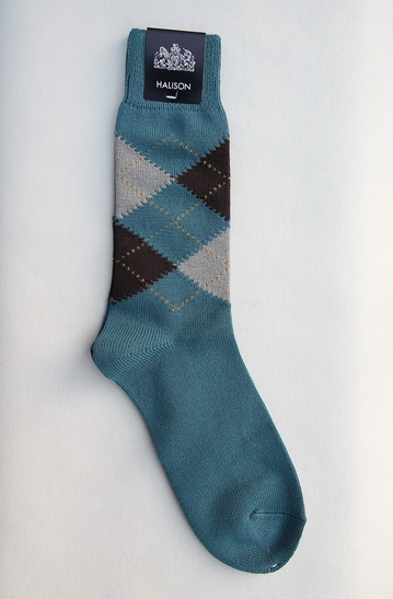 HALISON Dralon Cotton Argyle Socks BLUE (2)