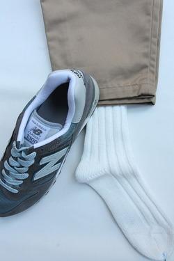SMALL STONE Socks Cotton Big Rib Socks WHITE