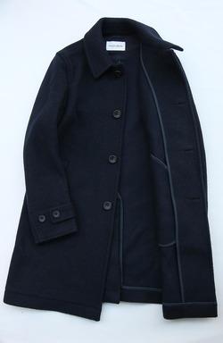Vincent et Mireille Souten Collar Coat Melton Mossa NAVY (3)