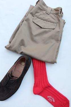 SMALL STONE Socks Cotton Big Rib Socks RED