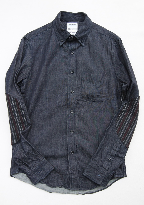 Your Uniform 6oz Denime BD Shirt Elbow Patch INDIGO