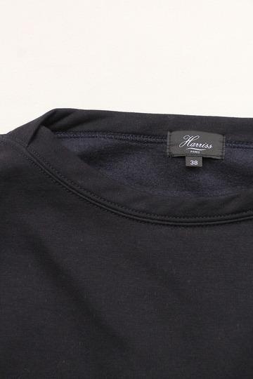 Harriss Cotton Bind Boat Neck SW Shirt NAVY (2)