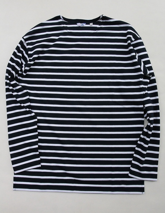 modas Fisherman Crew Border NAVY X WHITE