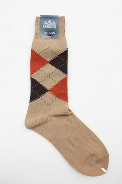 HALISON Dralon Cotton Argyle Socks BEIGE (3)