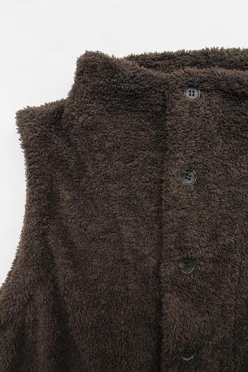 Le ciel de Harriss Boa Fleece Button Vest OLIVE (2)