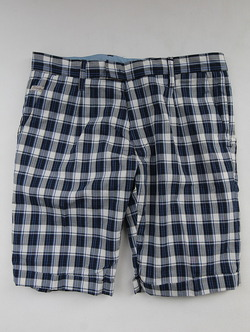 Perfection Tuck Shorts BLUE Plaid