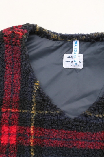 NOUN Vest Check RED X NAVY (2)