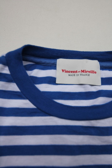 Vincent et Mireille Jersey Striped Big T Shihrt WHITE ROYAL (6)