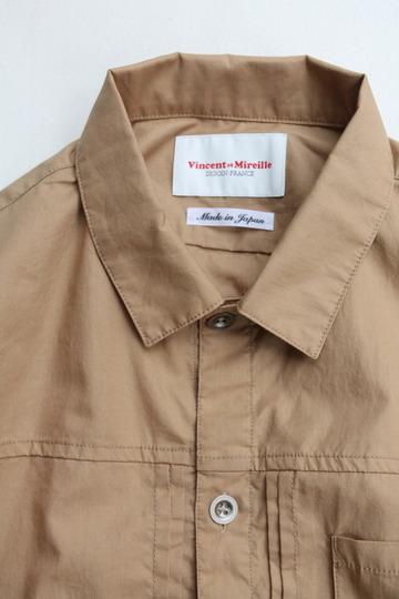 Vincent et Mireille G Shirt Yarn Dyed Broad BEIGE (2)