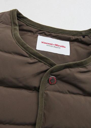 Vincent et mireille Stitchles Down Vest OLIVE (2)