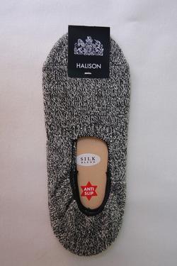 HALISON Recycle Cotton MOKU Slip on Socks CHARCOAL MOKU