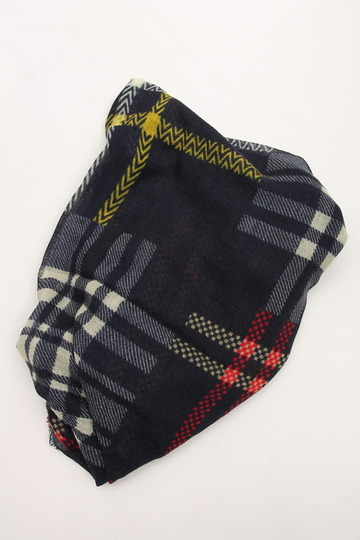 Glen Prince 3 Plaid Wool Stole NAVY (3)