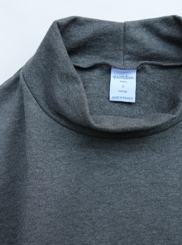 Quotidien Cotton Fleece Mockneck ANTHRACITE CHINE (2)