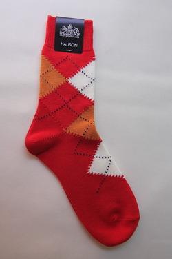HALISON Dralon Cotton Srgyle Short Socks RED