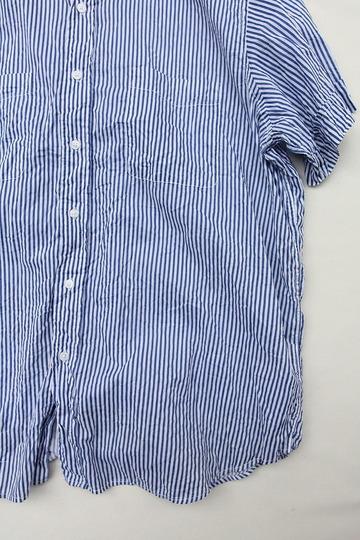Vasy Lentlement Regular CollarOversized Shirt BLUE Stripe