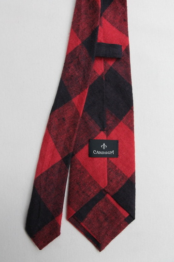 CANDIDUM Big Check Tie RED X BLACK (3)