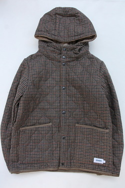 ARMEN Heat Quilt Reversible Hooded Jacket OLIVE Check X IRAQ (2)