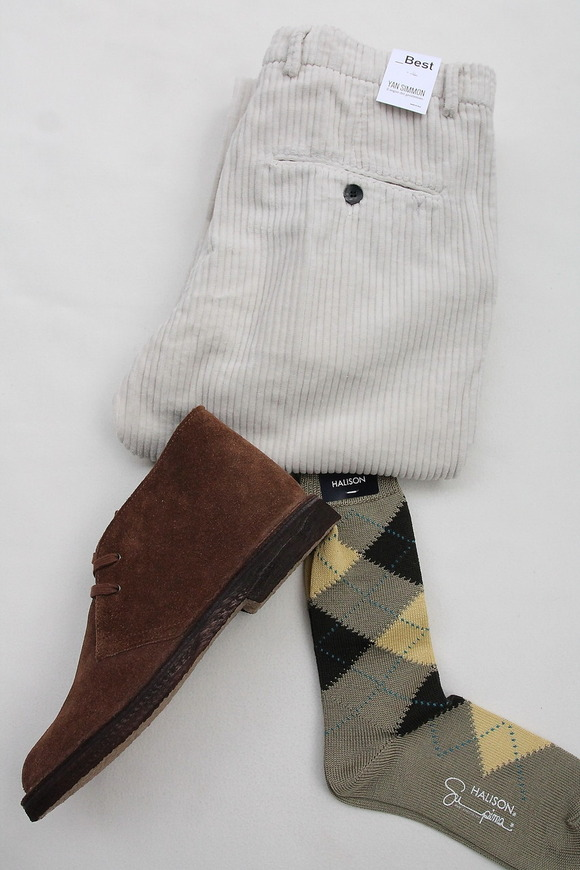 HALISON Su Pima Argyle Socks OLIVE
