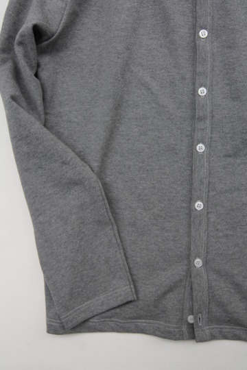 Quotidien Cotton Pique Crew Neck Cardigan Heather Grey (4)