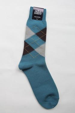 HALISON Dralon Cotton Argyle Socks BLUE (2)