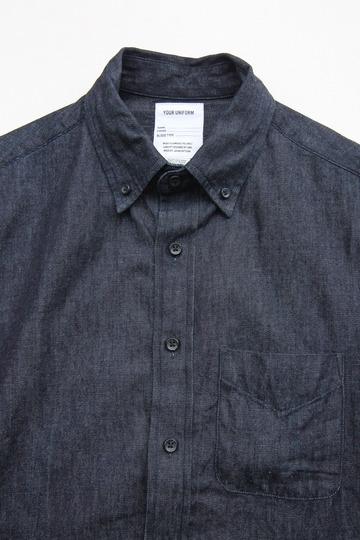 Your Uniform 6oz Denime BD Shirt Elbow Patch INDIGO (3)