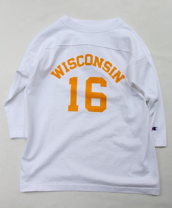 Champion T 1011 34 Football Tee Shirt WISCONSIN 16 WHITE