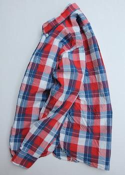 R & Vintage LS Triple Needle BD Shirt Indigo Check  (2)