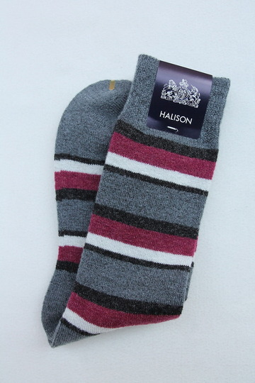 HALISON Doralon Multi Border Socks GREY (3)