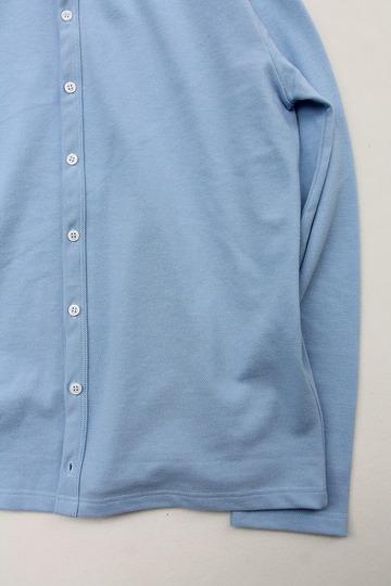 Quotidien Cotton Pique Crew Neck Cardigan BLUE IND (4)