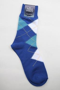 HALISON Dralon Cotton Argyle Short Socks BLUE (2)