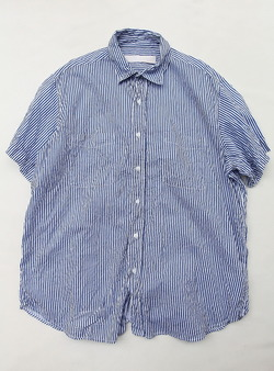 Vasy Lentlement Regular Collar Oversized Shirt WHITE BLUE Stripe