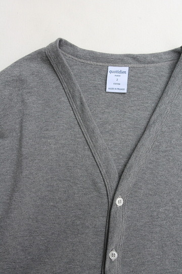 Quotidien Cotton Pique V Neck Cardigan GREY (2)