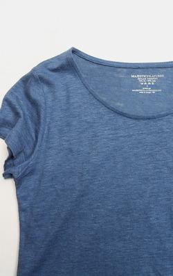 Majestic Cotton & Linen Lounge Dress BLUE MELANGE (2)