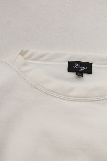 Harriss Cotton Bind Boat Neck SW Shirt NATURAL (2)
