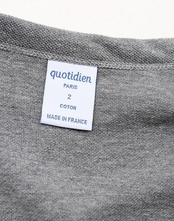 Quotidien Cotton Pique V Neck Cardigan GREY (5)