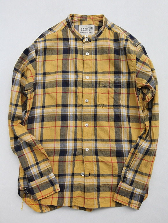 R & Vintage LS Band Collar Shirt Twill Check YELLOW