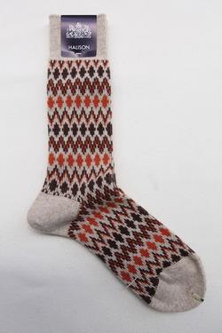 HALISON Mix Lamb Wool Zig Zag Dia Socks BEIGE (3)