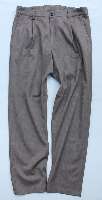 Harriss CARREMAN Stretch Heringbone 1P Tapered Pants BROWN (4)