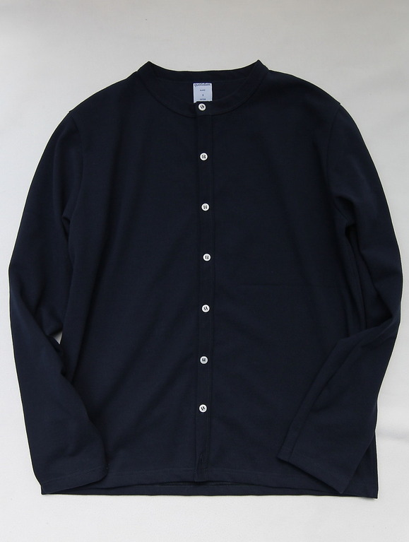 Quotidien Cotton Pique Crew Neck Cardigan NAVY