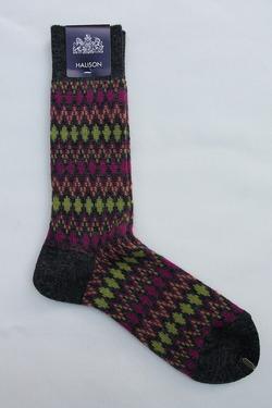 HALISON Mix Lamb Wool Zig Zag Dia Socks GREY (2)