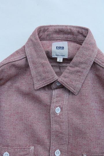 FOB Herringbone Flannel Work Shirt RED (2)