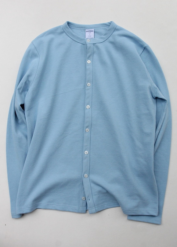 Quotidien Cotton Pique Crew Neck Cardigan BLUE IND